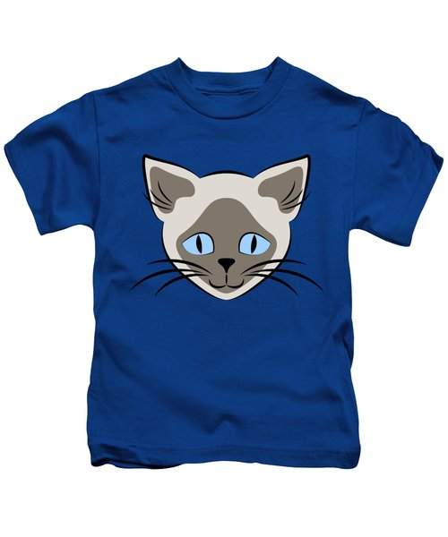 Siamese Cat Face With Blue Eyes Light Kids T-Shirt