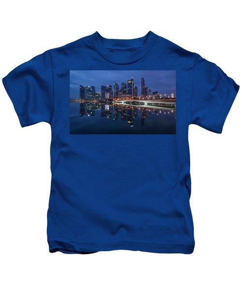Singapore Skyline Reflection Kids T-Shirt