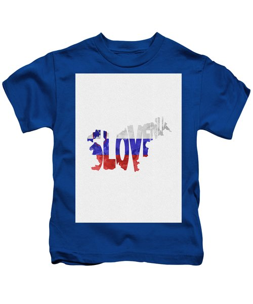 Slovenia Typographic Map Flag Kids T-Shirt