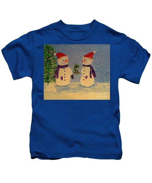 Snow-people At Christmas Kids T-Shirt