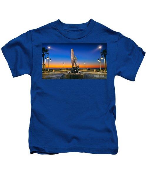 Spirit Of Imperial Beach Surfer Sculpture Kids T-Shirt