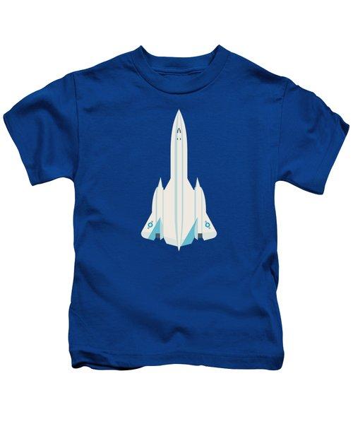 Sr-71 Blackbird Jet Aircraft - Blue Kids T-Shirt