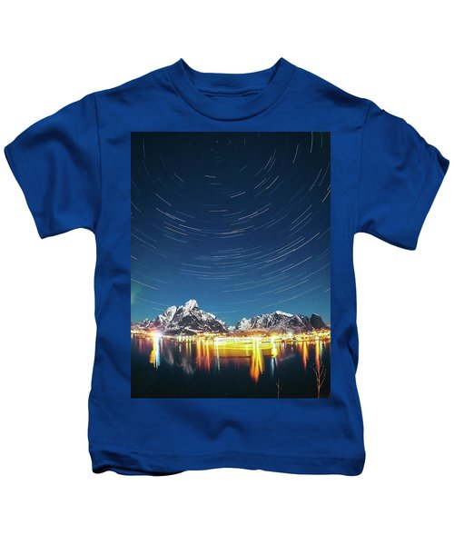 Startrails Above Reine Kids T-Shirt