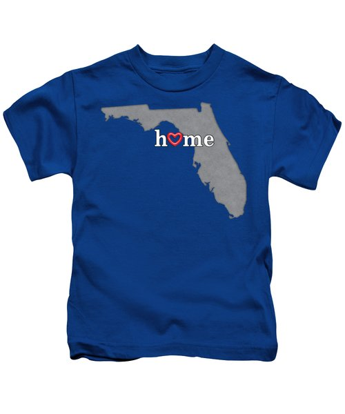 State Map Outline Florida With Heart In Home Kids T-Shirt by Elaine Plesser