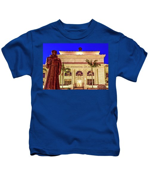 Statue Of Saint Junipero Serra In Front Of San Buenaventura City Hall Kids T-Shirt