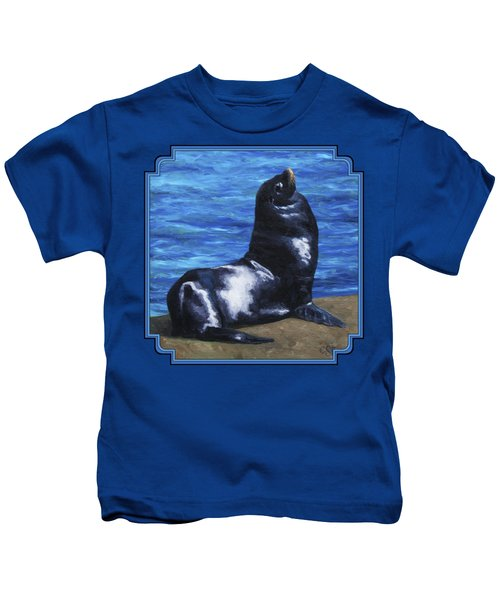 Sun Bathing Sea Lion Kids T-Shirt