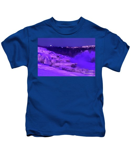 Sunrise And Moonset Over Minerva Springs Yellowstone National Park Kids T-Shirt