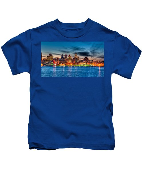 Sunset Over Philadelphia Kids T-Shirt