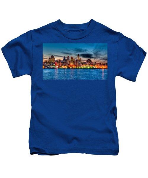 Sunset Over Philadelphia Kids T-Shirt
