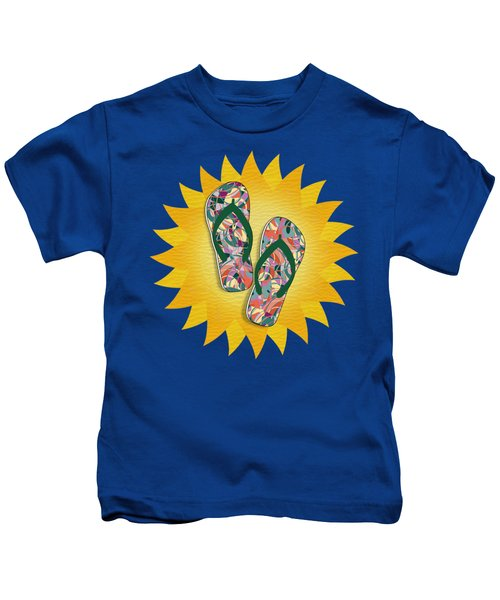 Sunshine And Colorful Abstract Flip-flops  Kids T-Shirt