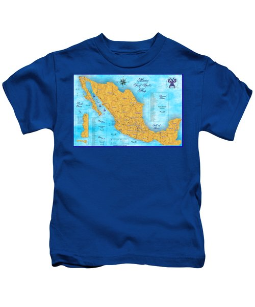 Mexico Surf Map  Kids T-Shirt