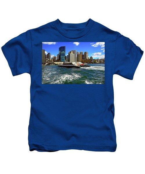 Sydney Skyline From Harbor By Kaye Menner Kids T-Shirt by Kaye Menner