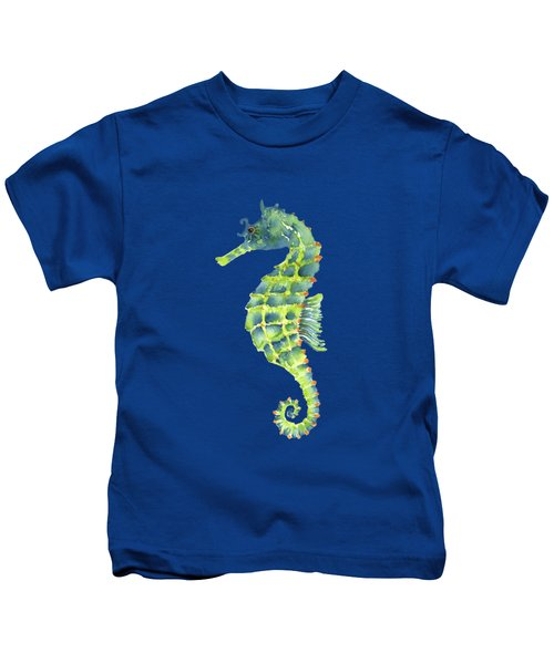 Teal Green Seahorse - Square Kids T-Shirt by Amy Kirkpatrick