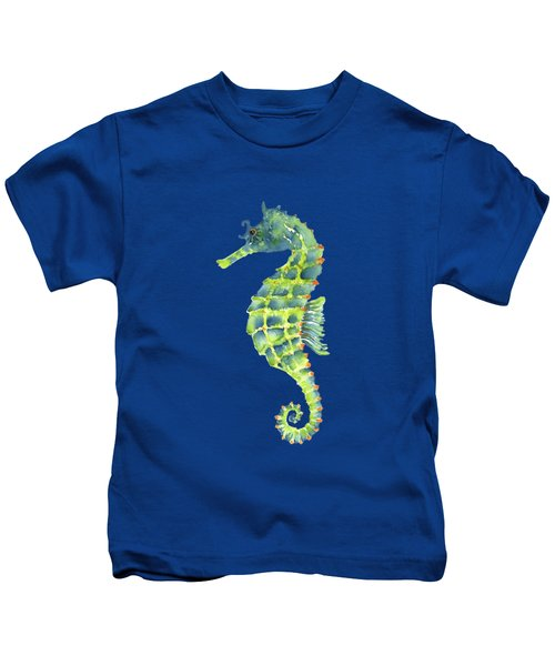 Teal Green Seahorse - Square Kids T-Shirt