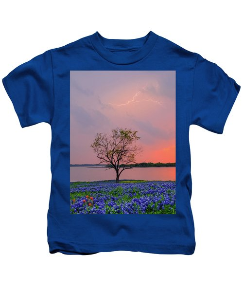 Texas Bluebonnets And Lightning Kids T-Shirt