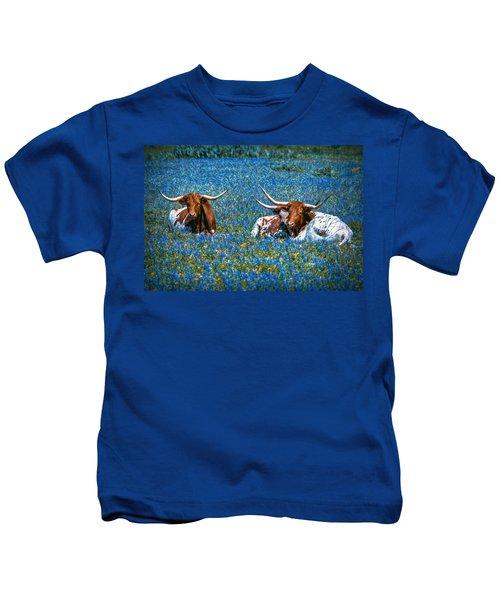 Texas In Blue Kids T-Shirt