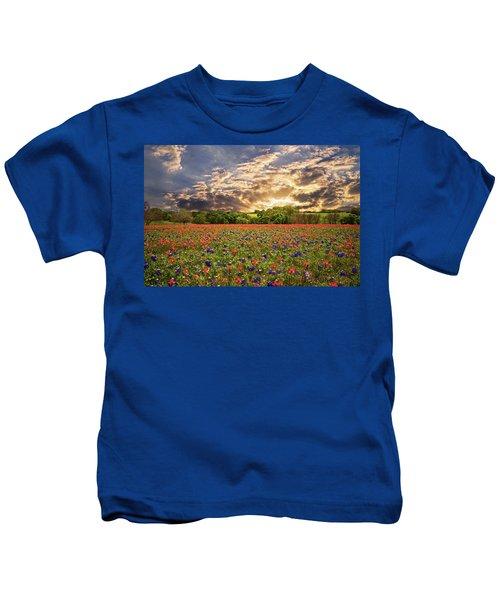 Texas Wildflowers Under Sunset Skies Kids T-Shirt