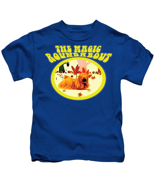 The Magic Roundabout Retro Design Hippy Design 60s And 70s Kids T-Shirt by Paul Telling