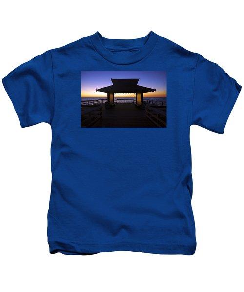 The Naples Pier At Twilight - 02 Kids T-Shirt