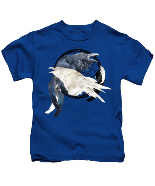 The White Raven Kids T-Shirt by Carol Cavalaris