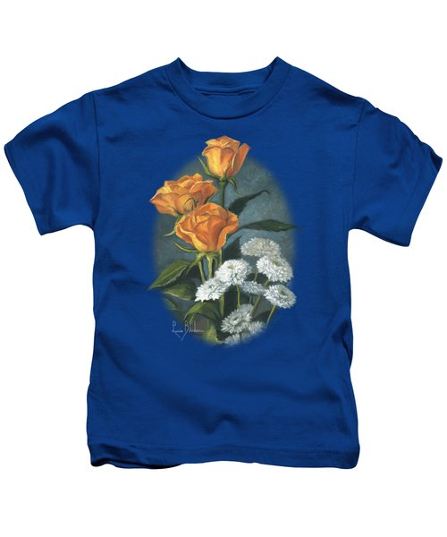 Three Roses Kids T-Shirt by Lucie Bilodeau