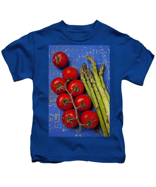 Tomatoes And Asparagus  Kids T-Shirt by Garry Gay