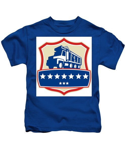 Triple Axle Dump Truck Stars Crest Retro Kids T-Shirt