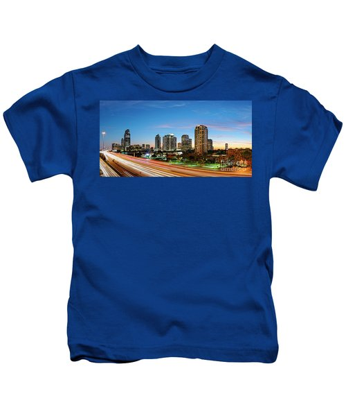 Twilight Panorama Of Uptown Houston Business District And Galleria Area Skyline Harris County Texas Kids T-Shirt