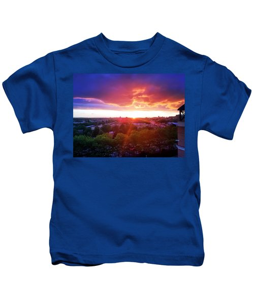 Kids T-Shirt featuring the photograph Urban Sunset by Chris Montcalmo