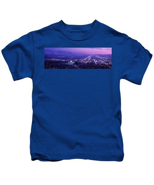 Usa, Utah, Salt Lake City, Aerial, Night Kids T-Shirt