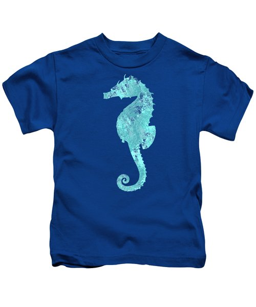 Vibrant Blue Seahorse Beach House Coastal Art Kids T-Shirt