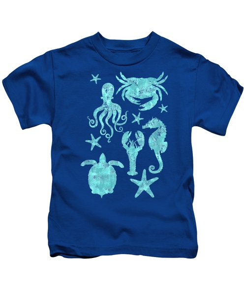 Vibrant Marine Life Beach House Coastal Art Kids T-Shirt