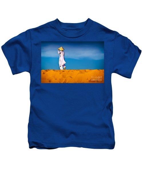 Vietnamese Woman In The Red Sand Dunes Mui Ne Vietnam Kids T-Shirt