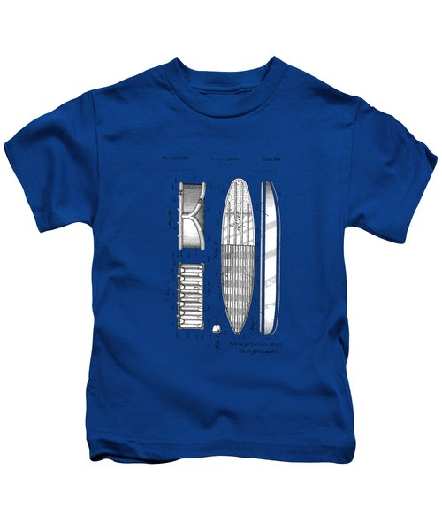 Vintage Surf Board Patent Blue Print 1950 Kids T-Shirt