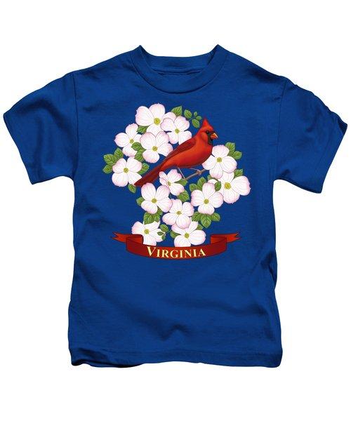 Virginia State Bird Cardinal And Flowering Dogwood Kids T-Shirt