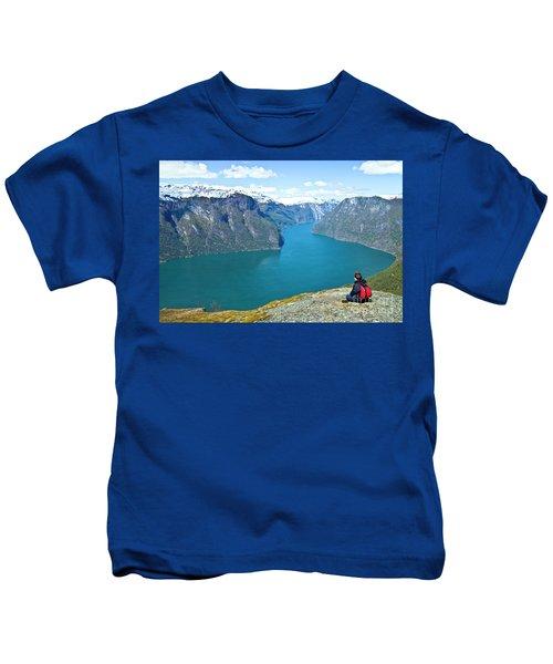 Visitor At Aurlandsfjord Kids T-Shirt