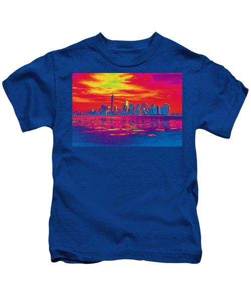 Vivid Skyline Of New York City, United States Kids T-Shirt