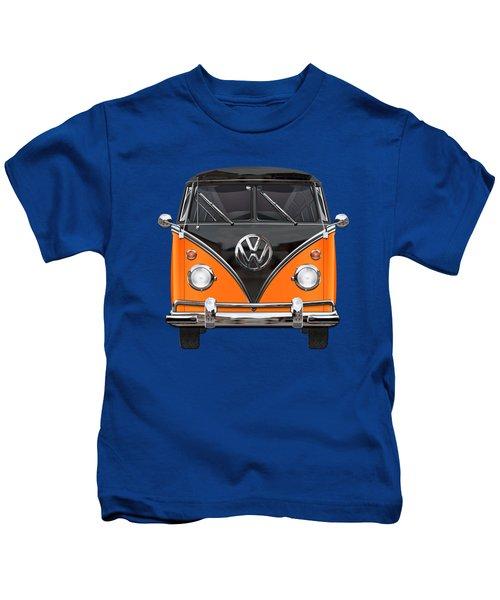 Volkswagen Type 2 - Black And Orange Volkswagen T 1 Samba Bus Over Blue Kids T-Shirt