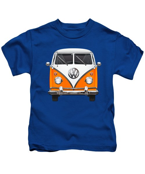 Volkswagen Type - Orange And White Volkswagen T 1 Samba Bus Over Blue Canvas Kids T-Shirt