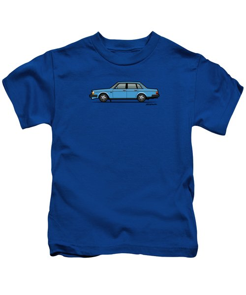 Volvo Brick 244 240 Sedan Brick Blue Kids T-Shirt