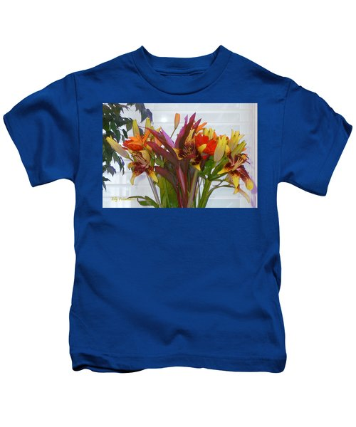 Warm Colored Flowers Kids T-Shirt