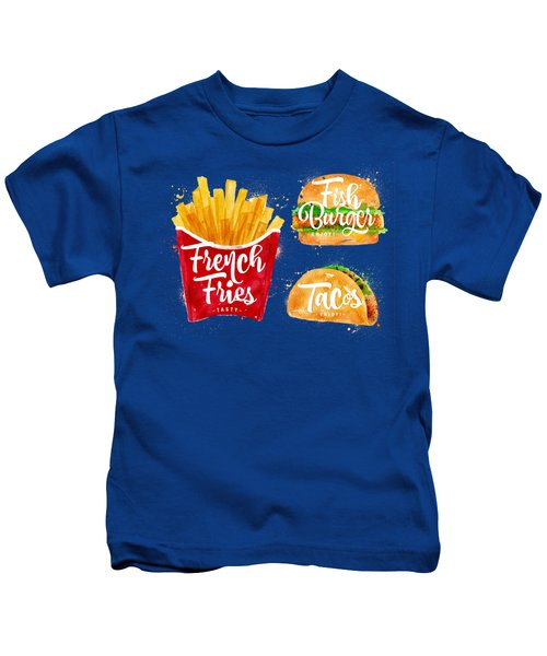 White French Fries Kids T-Shirt by Aloke Creative Store