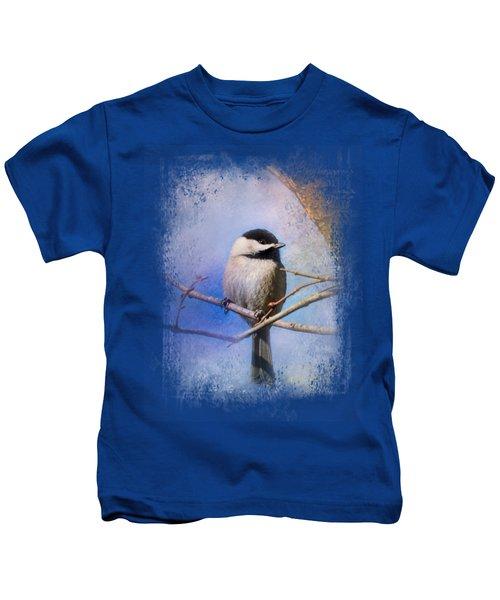 Winter Morning Chickadee Kids T-Shirt by Jai Johnson