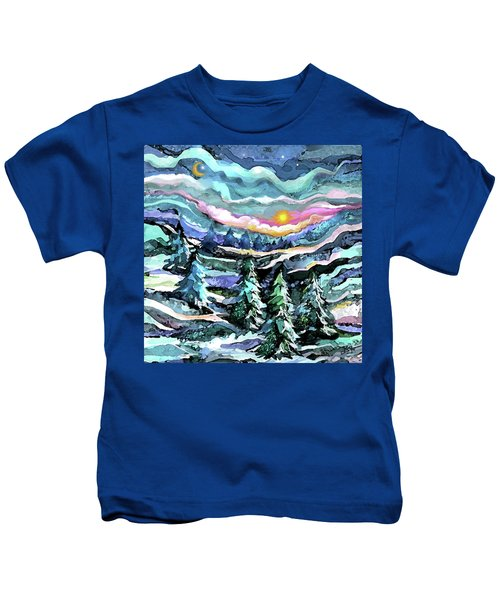 Winter Woods At Dusk Kids T-Shirt