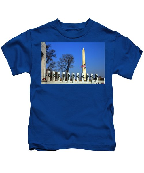 World War II Memorial And Washington Monument Kids T-Shirt