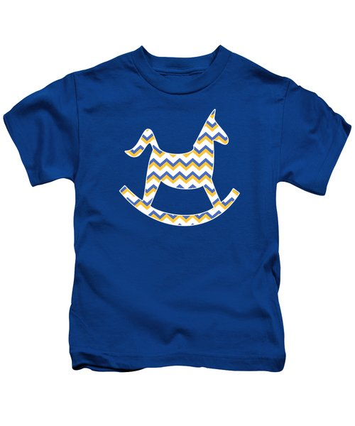 Yellow Blue Chevron Pattern Kids T-Shirt