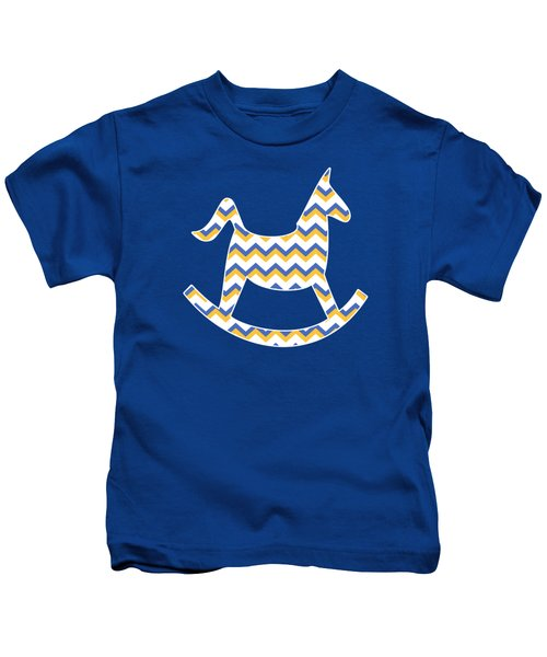 Kids T-Shirt featuring the mixed media Yellow Blue Chevron Pattern by Christina Rollo