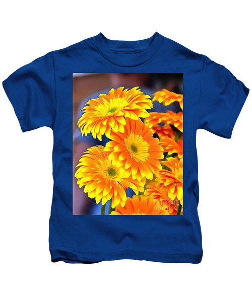 Yellow Flowers In Thick Paint Kids T-Shirt