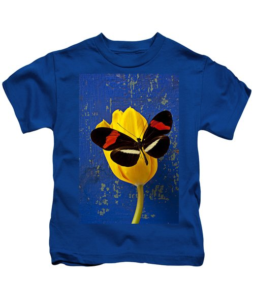 Yellow Tulip With Orange And Black Butterfly Kids T-Shirt