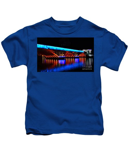 Evening View Of The Love River And Illuminated Bridge Kids T-Shirt